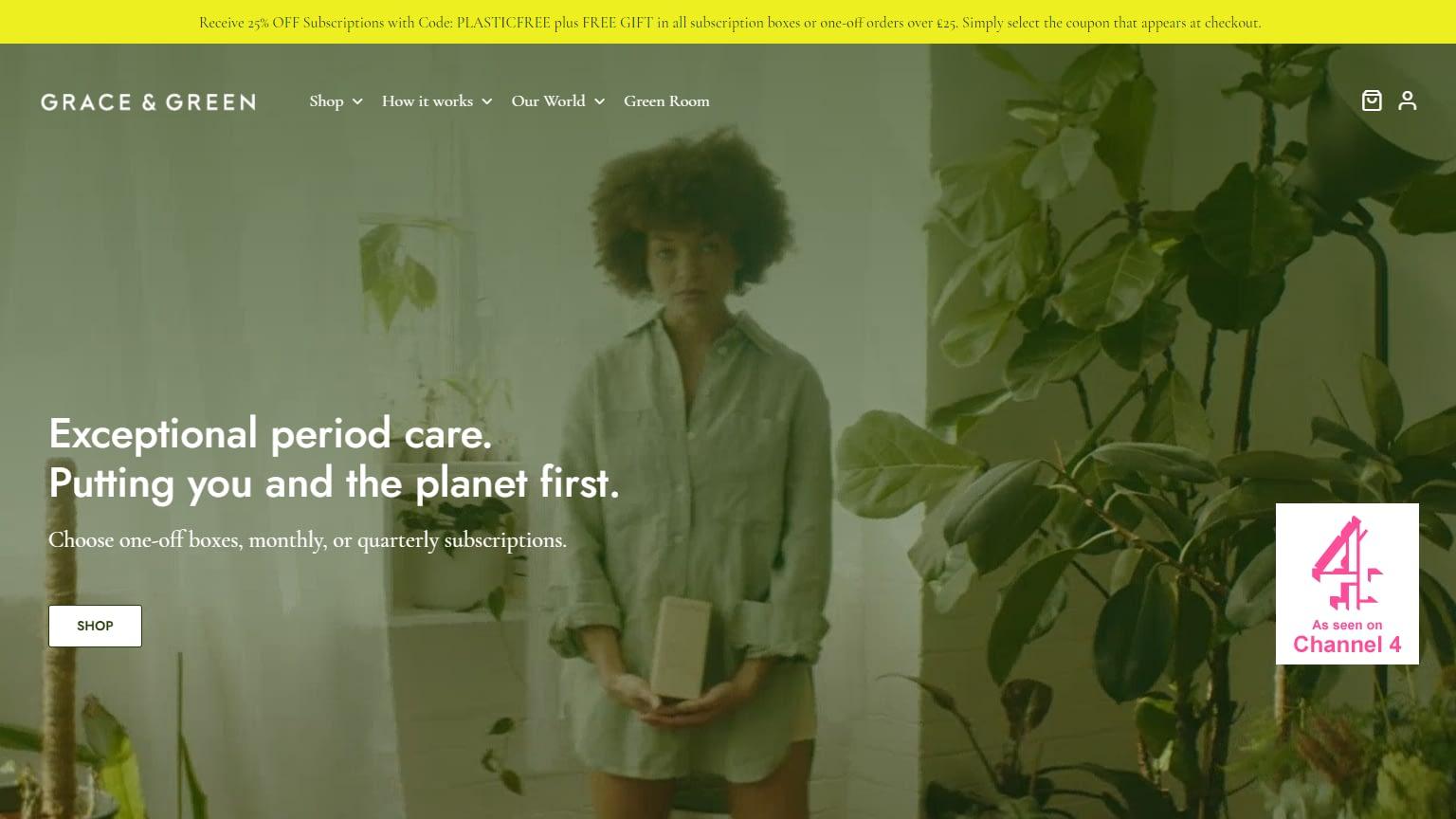 golivenow.uk website design Grace and Green screenshot 2 - golivenow.uk