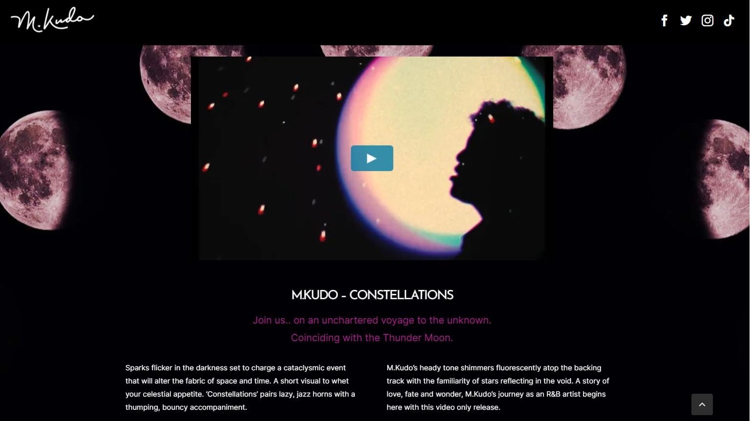 golivenow.uk website design M Kudo Music screenshot 2 - golivenow.uk